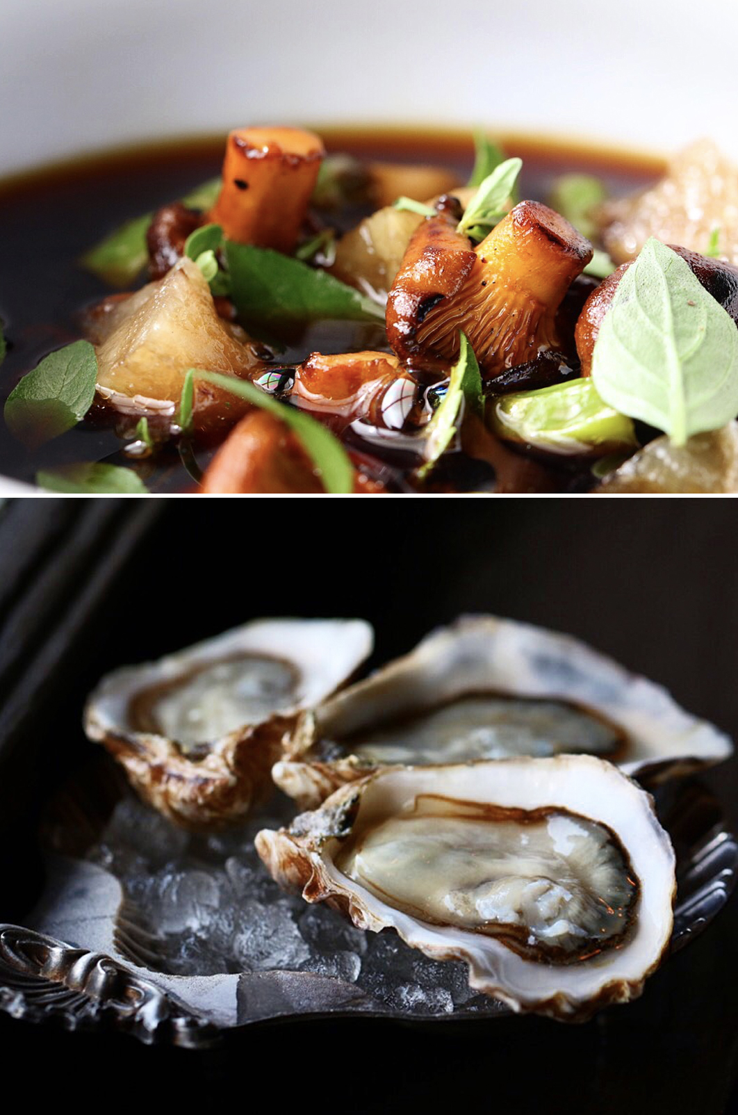 Mushrooms and mussels - catering food